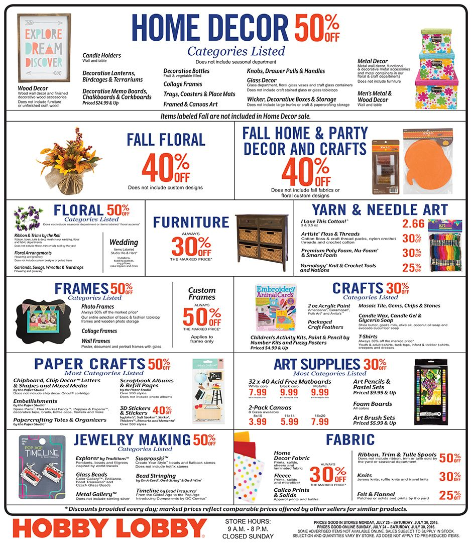 Hobby Lobby Coupons - Sales Schedule …