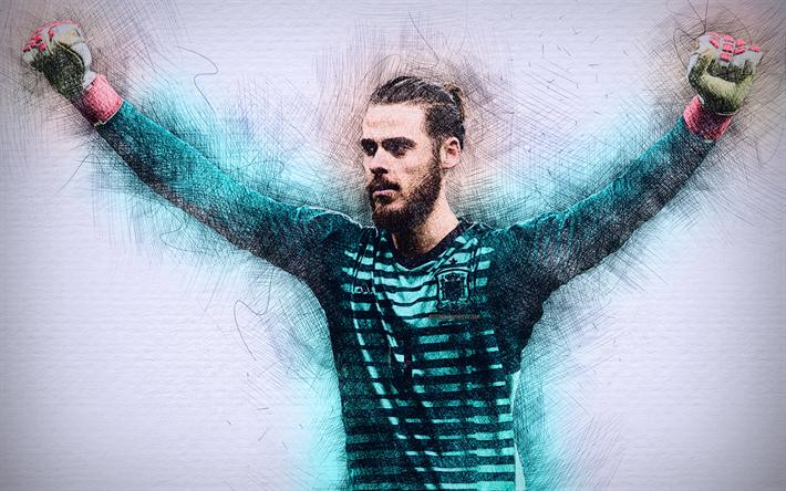 Download Wallpapers David De Gea, 4k, Spanish Football