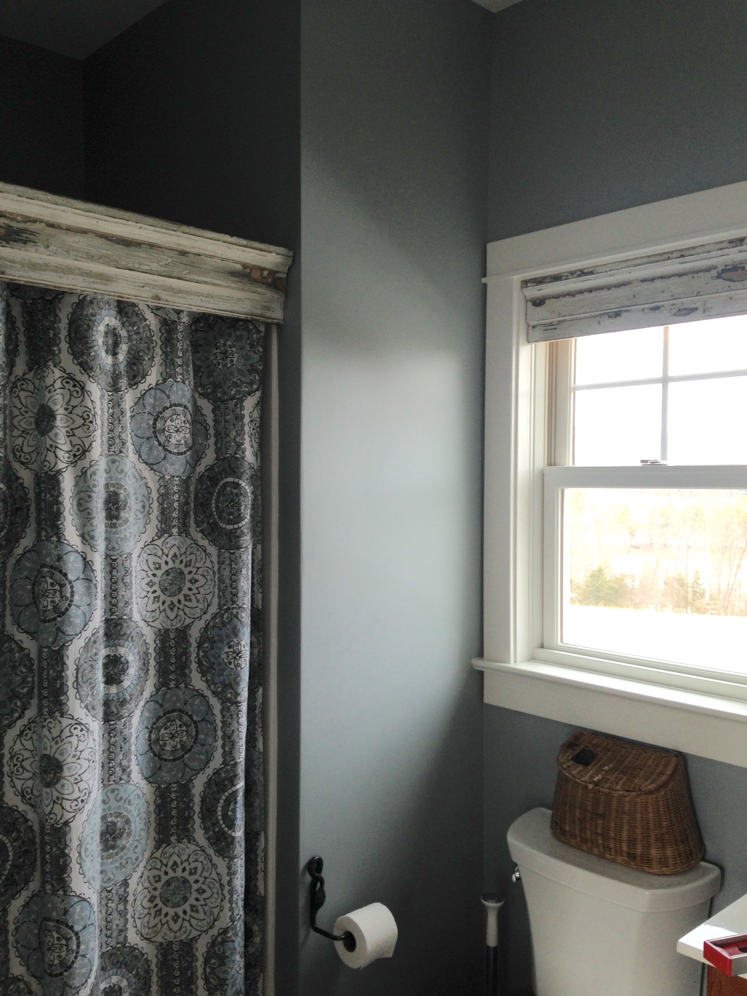 Great Shower Curtain Rod Concealer Used A Piece Of Salvaged Door Trim To Cover The And Small As Window Valence