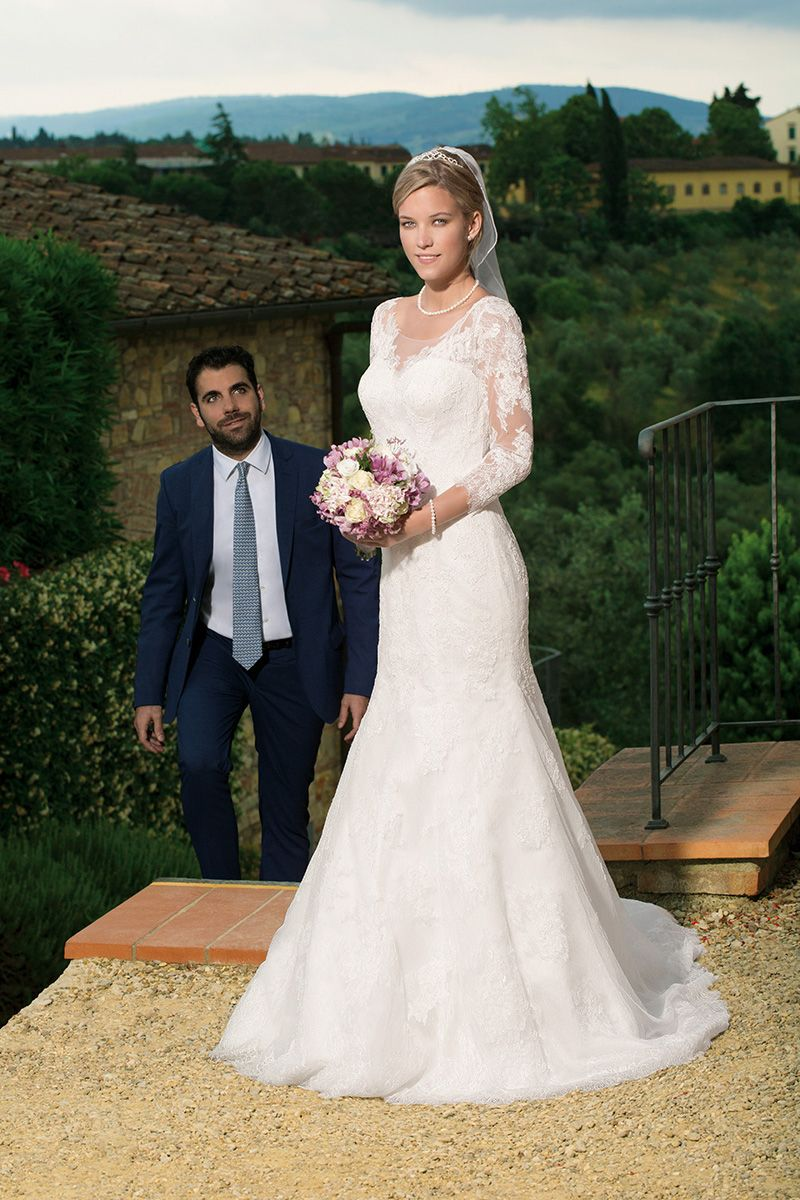 Brautkleid 17725 Palermo mit Schleppe, Tüll mit Spitze | Braut ...