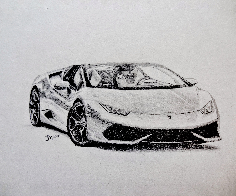 Lamborghini Huracan Spyder By Jmcardrawings Super Cars Pencil Drawings Cool Car Drawings
