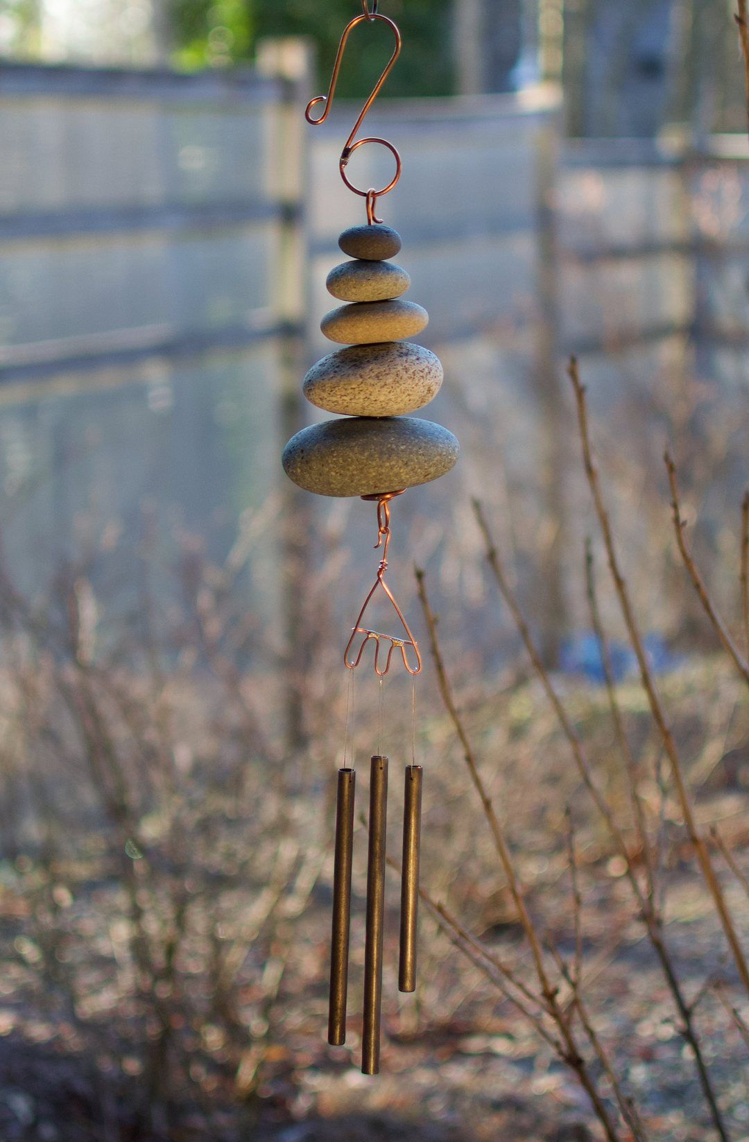 Wind Chime Natural Beach Stone Handcrafted Outdoor Chimes ...