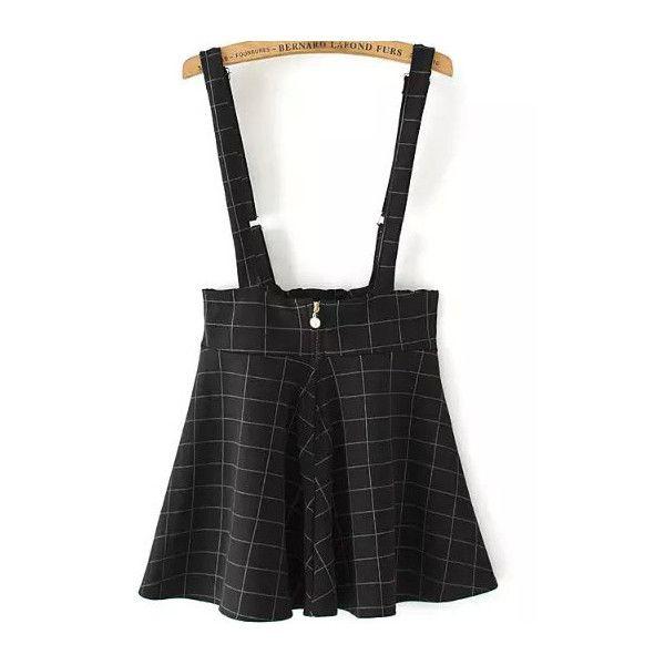Strap Plaid Zipper Flare Black Dress (£9.37) ❤ liked on Polyvore featuring dresses, black, black cocktail dresses, plaid dress, flare cocktail dress, black zipper dress and short cocktail dresses