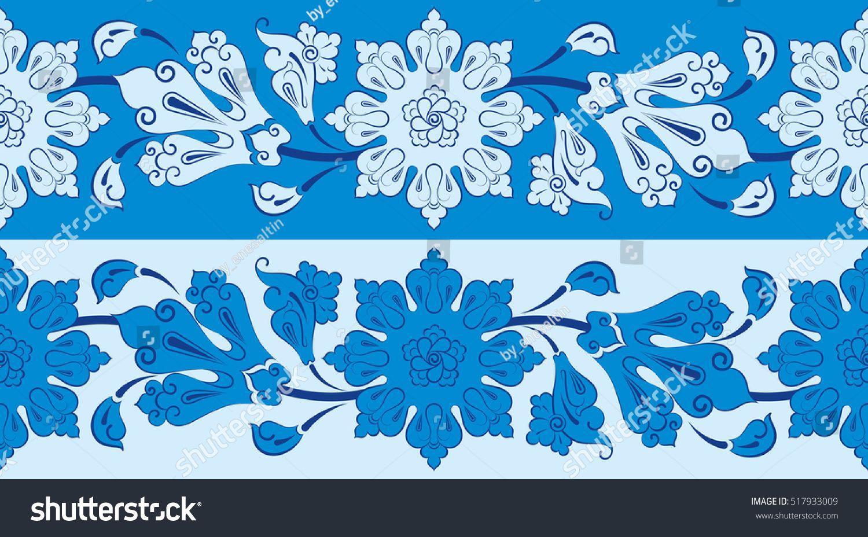Lotus Flower Design. Ottoman Motif. Turkish Tile Ceramic