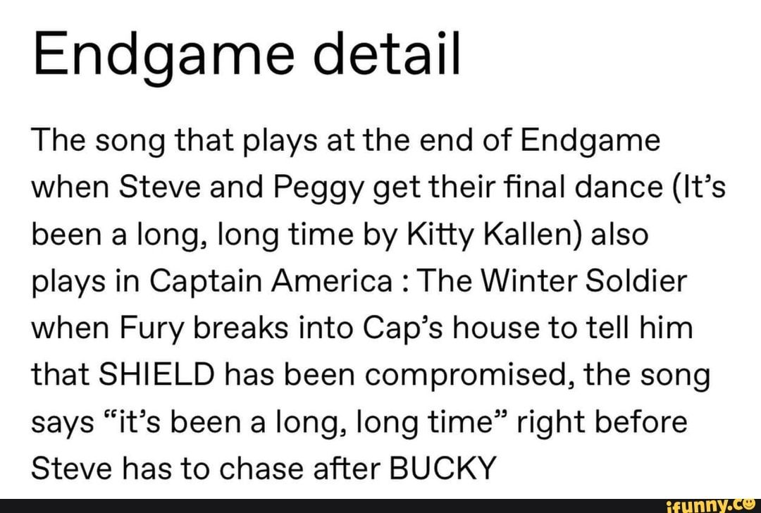 Endgame detail The song that plays at the end of Endgame ...
