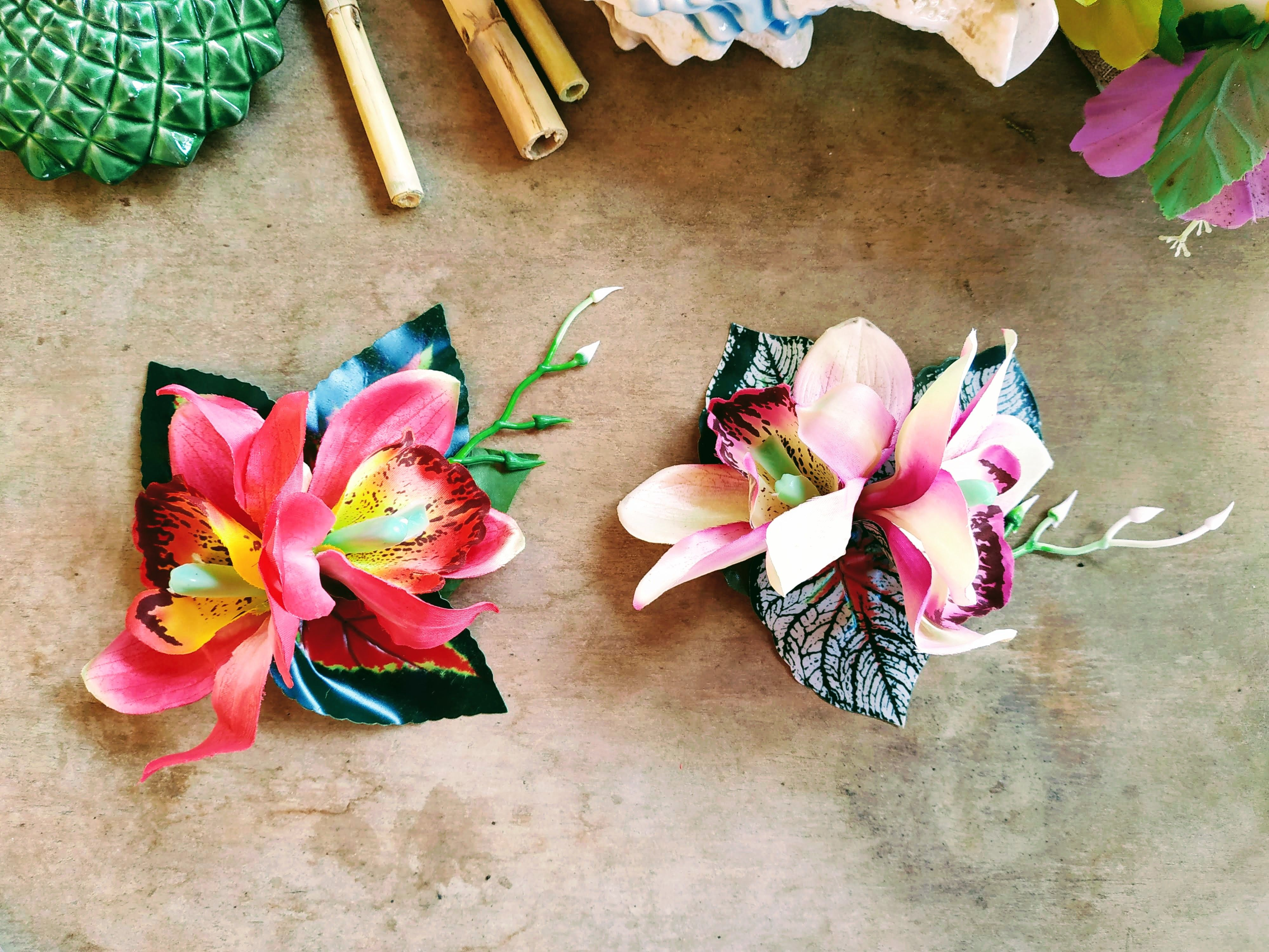 Double Orchid Flower Hair Clip With Tropical Leaves The Flower Hair Clips Flowers In Hair Hawaiian Hairstyles