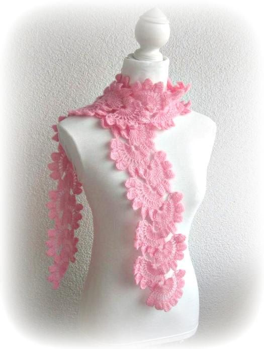Hand Crochet Wrap Scarf Snood in Pink, Rose with Angora Mohair yarn ...