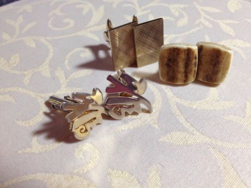 Vintage #cufflinks 3 (three) #pairs - #bone, chinese symbol and etched ,  View more on the LINK: http://www.zeppy.io/product/gb/2/161804348453/