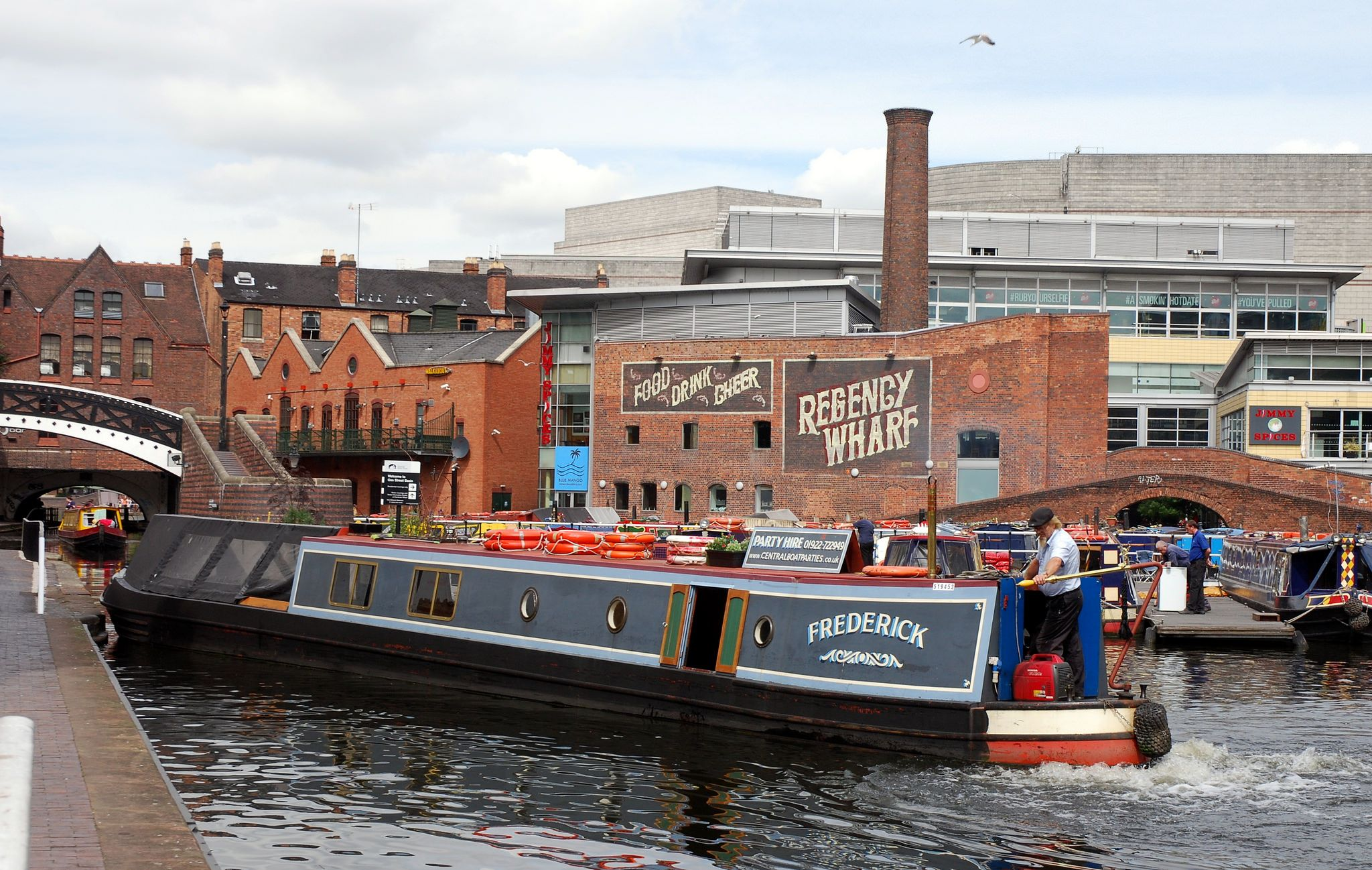 'Frederick' manouvering out of Gas Street Basin, Birmingham.