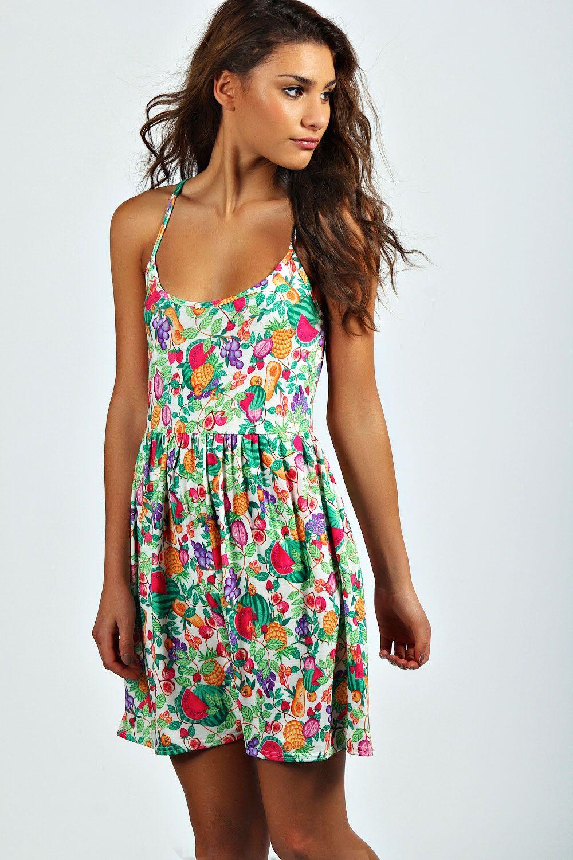 9acef8098a16 Claire Fruit Print Skater Dress at boohoo.com | Transfertex Fashion ...