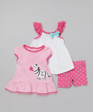 Look at this #zulilyfind! Pink Zebra Ruffle Tee Set - Infant #zulilyfinds