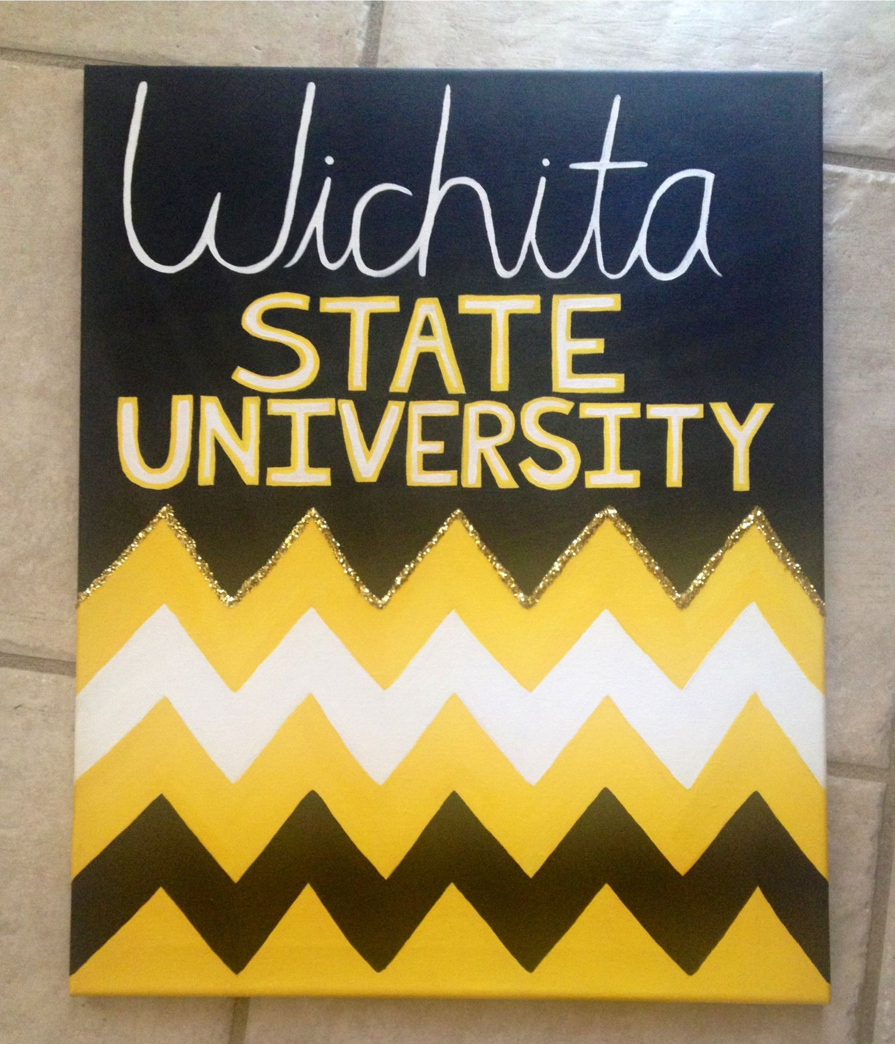 DIY canvas art to hang on dorm room wall... Change it to Washburn ...