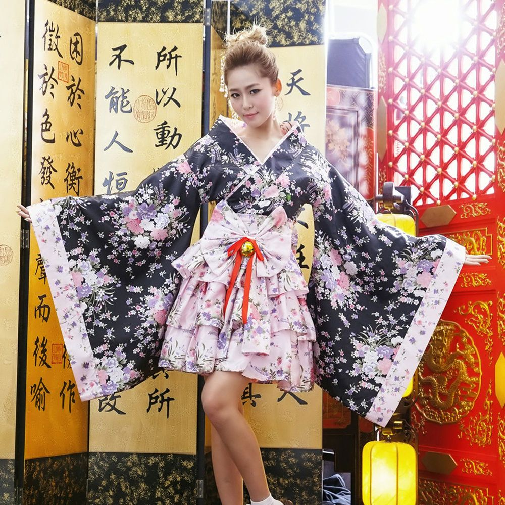 Japanese Kimono Lolita Maid Uniform Outfit Anime Cosplay Costume Women/'s Dress