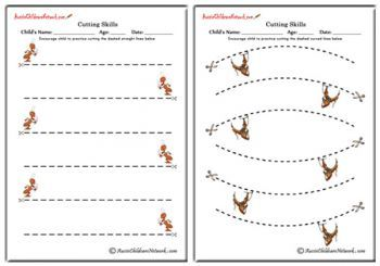 Cutting on Lines Worksheets, Cutting Straight lines, Cutting Zig Zag Lines, Cutting Curves and Cutting Curvy lines, preschool cutting practice, Cutting lines, teaching scissor skills, cutting skills worksheets, cutting activity, Printables to develop Pre Scissor skills  and more..