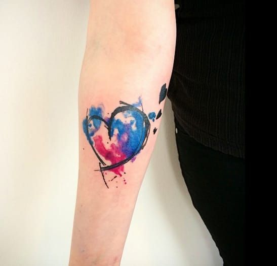 Fall In Love With These Cute Watercolour Heart Tattoos