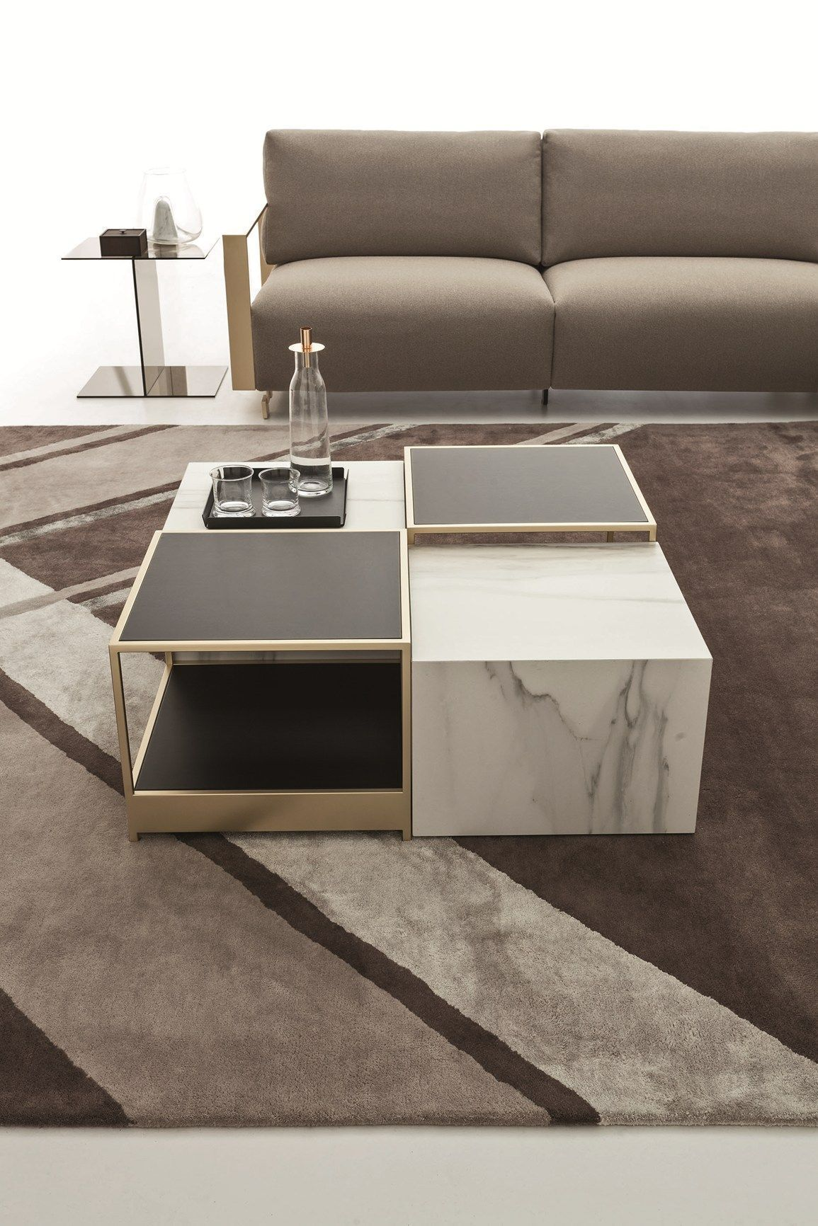 Unique center tables give a distinctive feel to a living ...