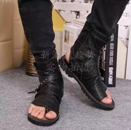 Mens Gladiator Punk Flip Flops Summer Leather Sandals Buckle Casual Shoes Straps