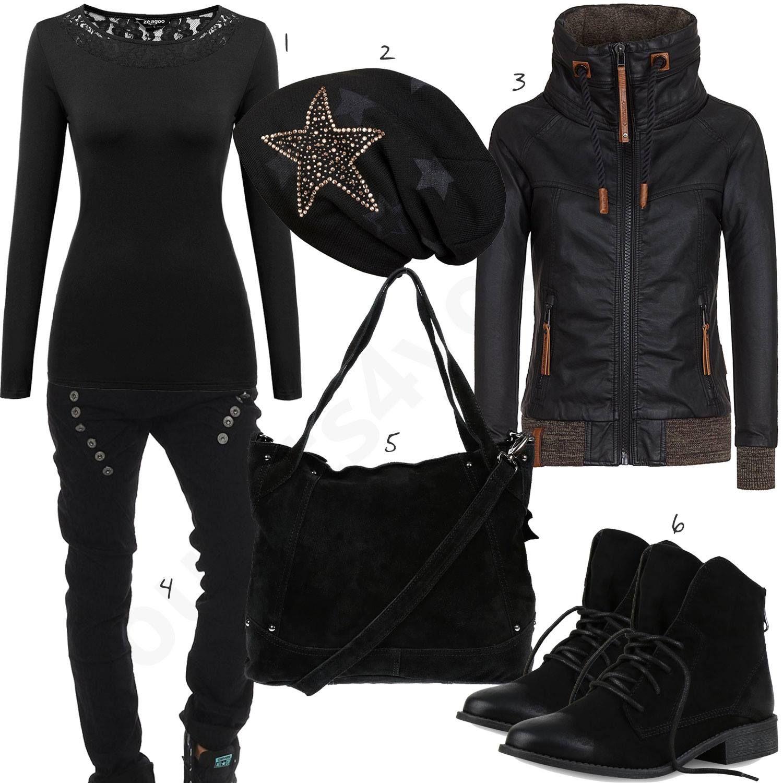 Schwarzes Outfit für Frauen mit Naketano Jacke