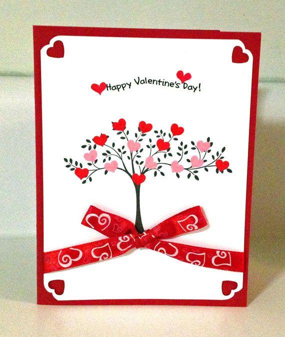 Happy Valentine S Day Tree Card W Envelope Blank Inside Valentines Cards Valentine Cards Handmade Valentine Love Cards
