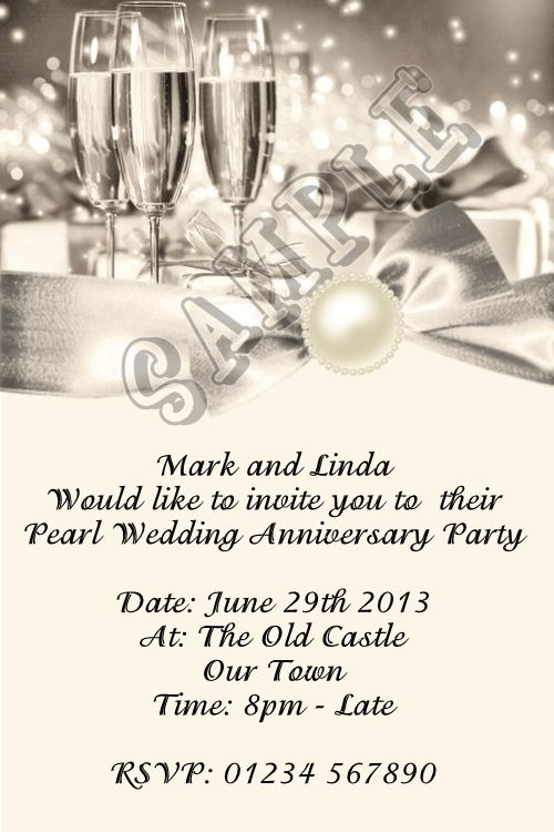 Personalised 30th Pearl Wedding Anniversary Invitations Champagne And Bow
