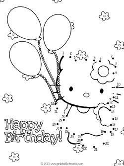 Hello Kitty Birthday Dot To Dot Hello Kitty Colouring Pages Hello Kitty Coloring Kitty Coloring