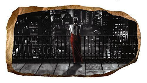 Startonight 3D Mural Wall Art Photo Decor Lady in Red at Night Amazing Dual View Surprise Large 32.28 inch By 59.06 inch Wall Mural Wallpaper for Living or Bedroom Movie Collection Wall Art