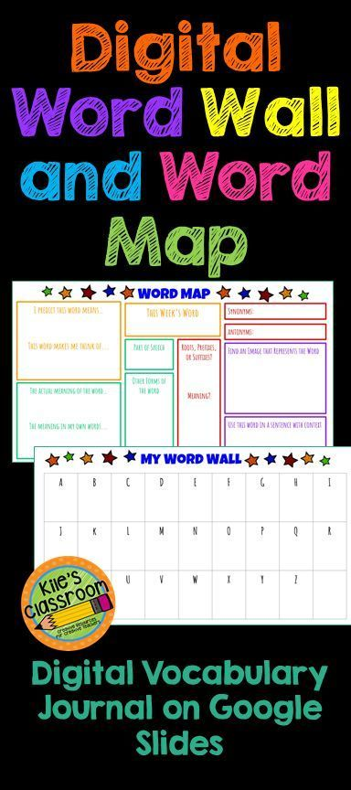 Digital Word Wall and Vocabulary Map Google Slides Digital word