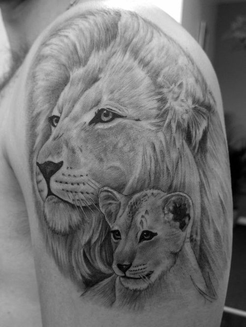 60bfe47a6 30 Amazing Lion and Cub Tattoo Ideas (2019) | Lion tattoo | Cubs ...