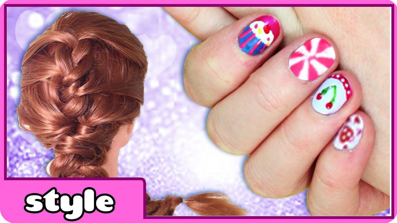 Diy cute nail art and easy hairstyle tutorials frozen braid