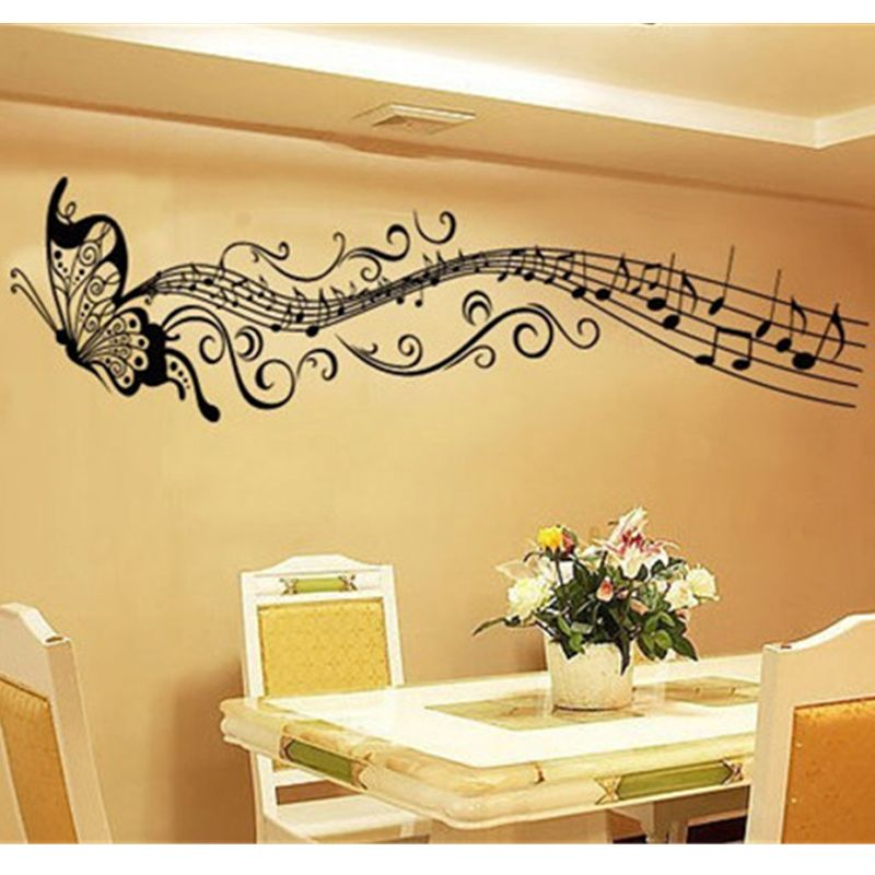 Butterfly Flying Music Note Removable Wall Stickers Dancing Music ...