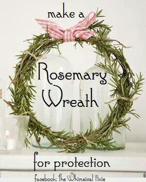 Tie a few sprigs of rosemary together to form a circle. Hang it outside your door for protection. Hang it over your bed for restful sleep. Makes it big enough to be a circlet and wear it on your head for improve memory.