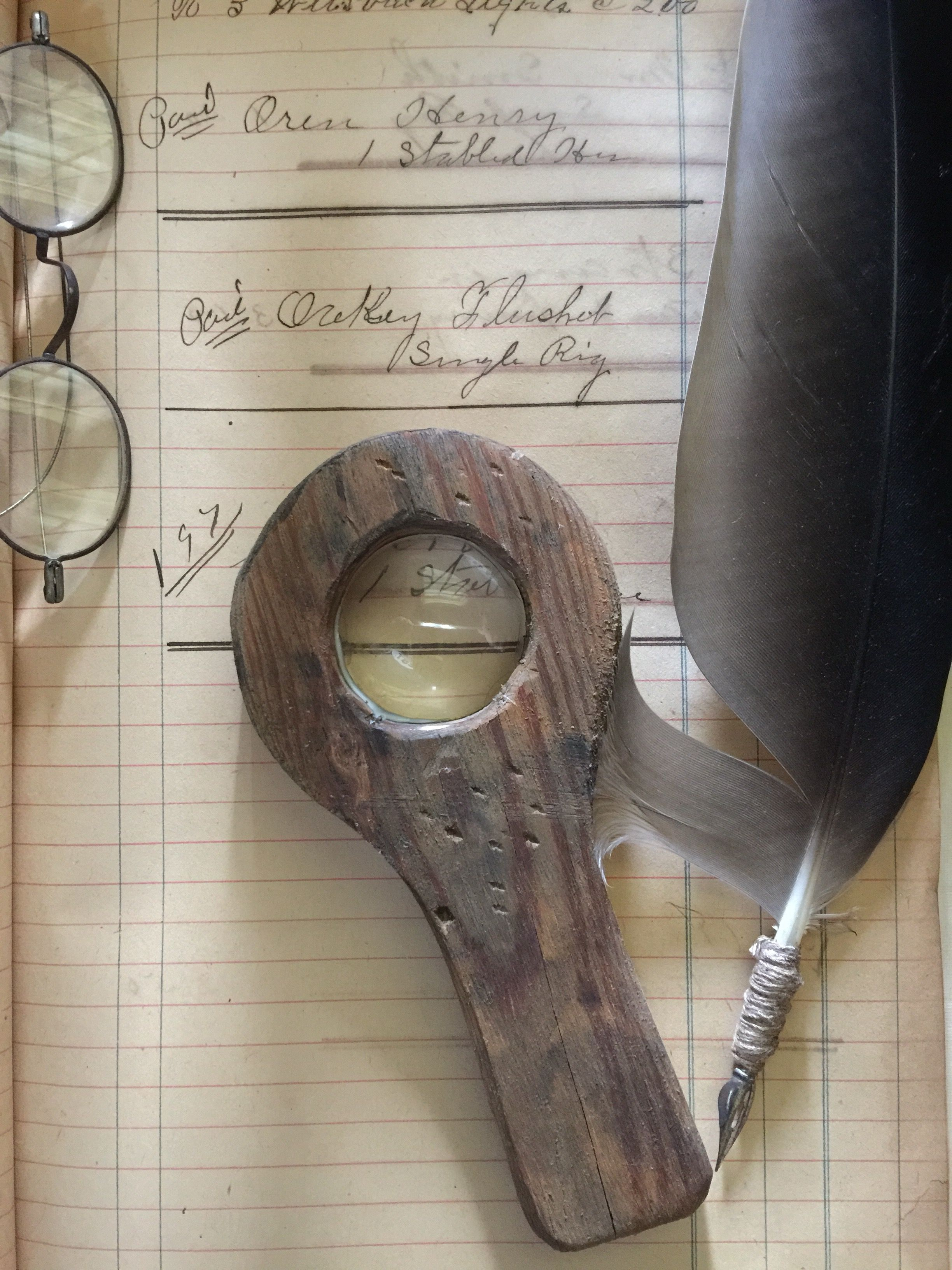 Early look magnifying glass made from 1860 heart pine. On eBay this eve.....