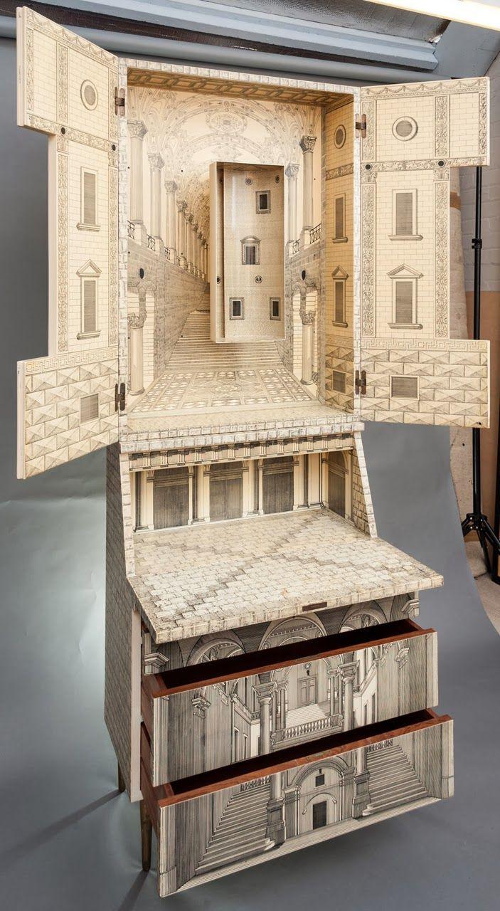 Piero fornasetti 1913 1988 dise ador italia o pintor escultor decorador de interiores y - Fornasetti mobili ...