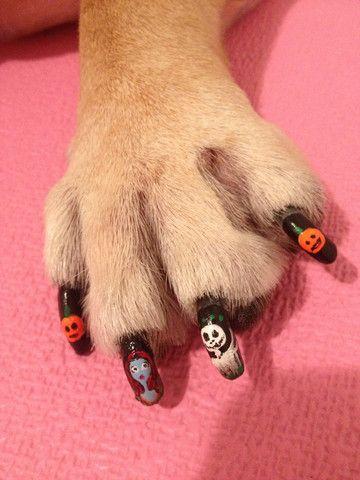 "-Repinned- Dog nail art ""halloween""."