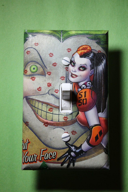 Bon Harley Quinn Joker Batman Light Switch Plate Cover Comic Book Bedroom Home Decor  Dc Comics Superhero