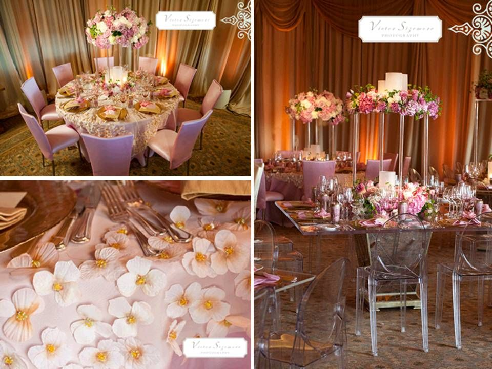 Gold Wedding Luxe Pink Cream And Reception Tablescapes Decor