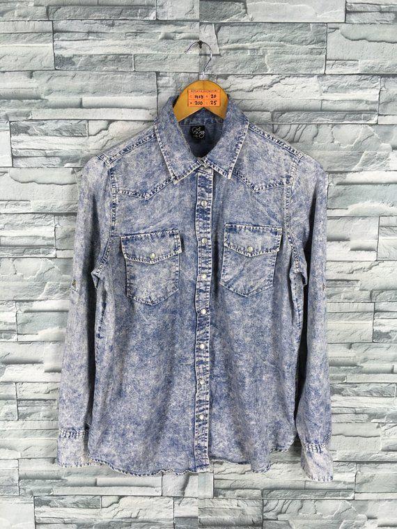 4233e916a Women Denim Shirt Medium Vintage 90's Distressed Acid Wash Blouse Jeans  Dress Buttondown Western Siz