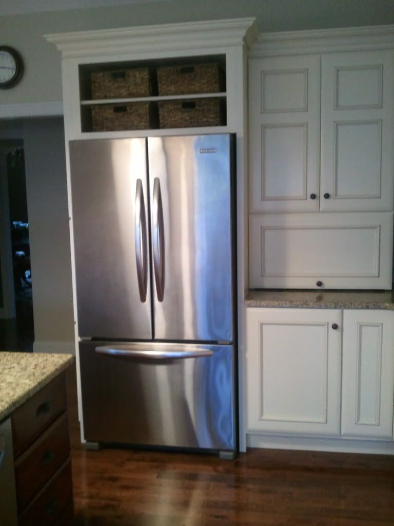 Space Above Fridge Idea I Like This Or Making It Into A Wine Rack Want To Change The Cabinets Above The Fridge T Kitchen Refrigerator Cabinet Kitchen Remodel