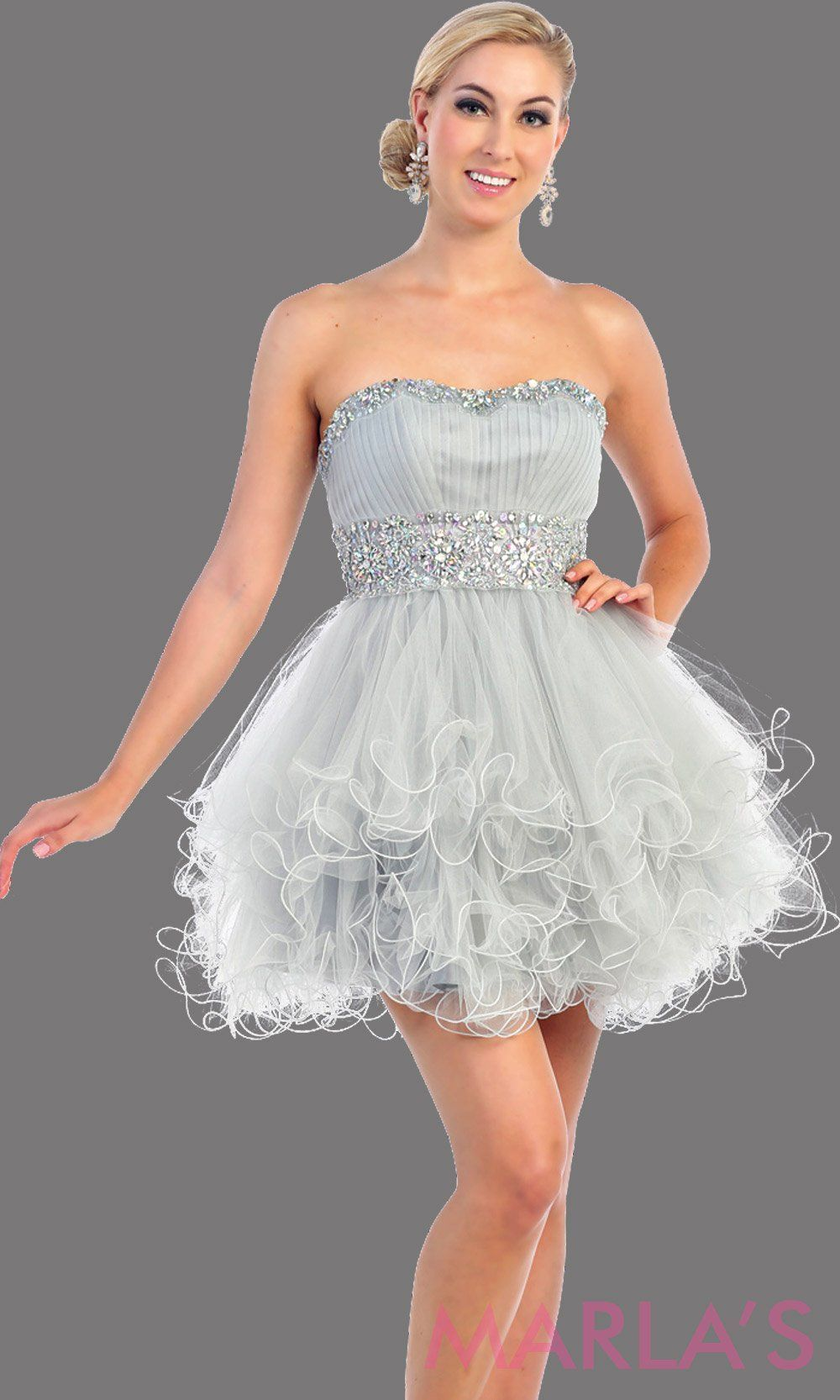 3ce9f8699ed06 Short silver strapless grade 8 grad puffy dress with rhinestone  waistline.This light gray grade 8 graduation dress has a corset back.