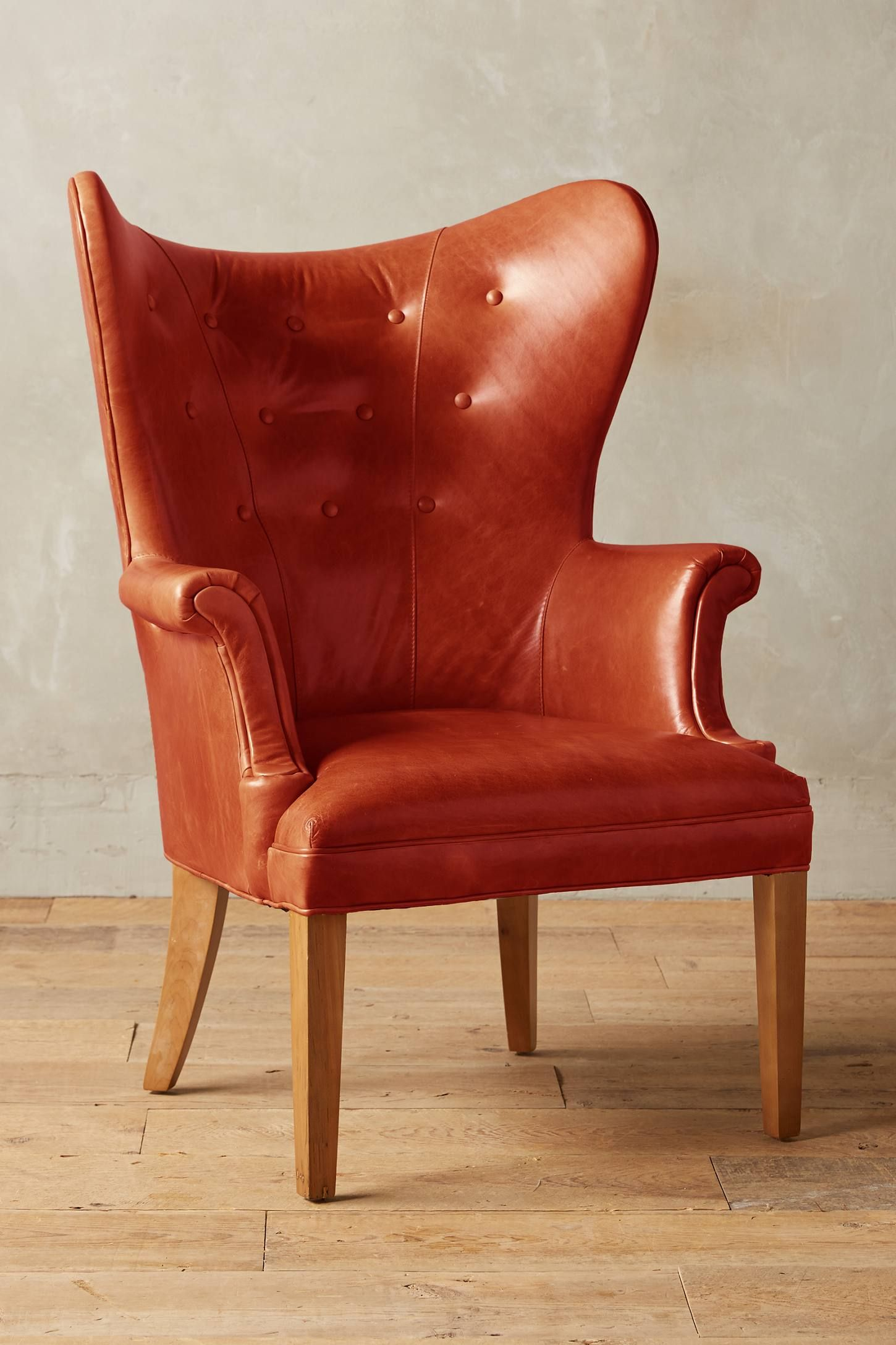 Slide View: 1: Premium Leather Wingback Chair
