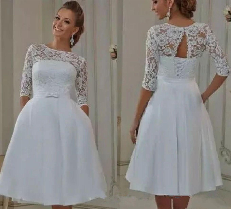 Elegant half sleeves lace aline short wedding dresses