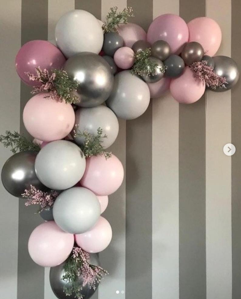 120 pcs Wedding Balloon Garland kit,Shades of Pink,Grey