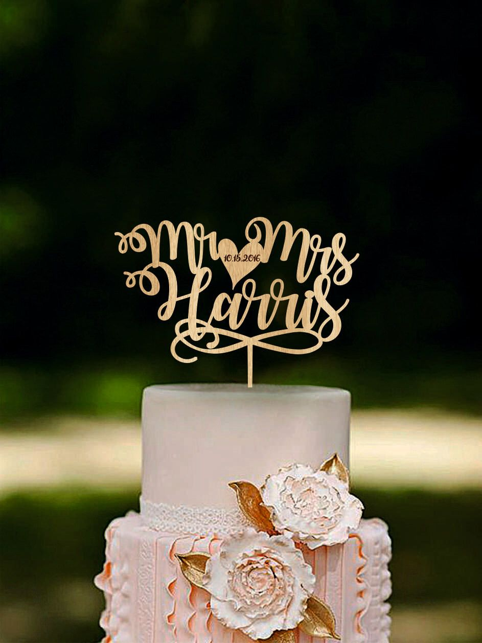 Mr And Mrs Cake Topper Custom Name Cake Toppers Unique Etsy Gold Cake Topper Wedding Custom Wedding Toppers Fall Wedding Cake Topper