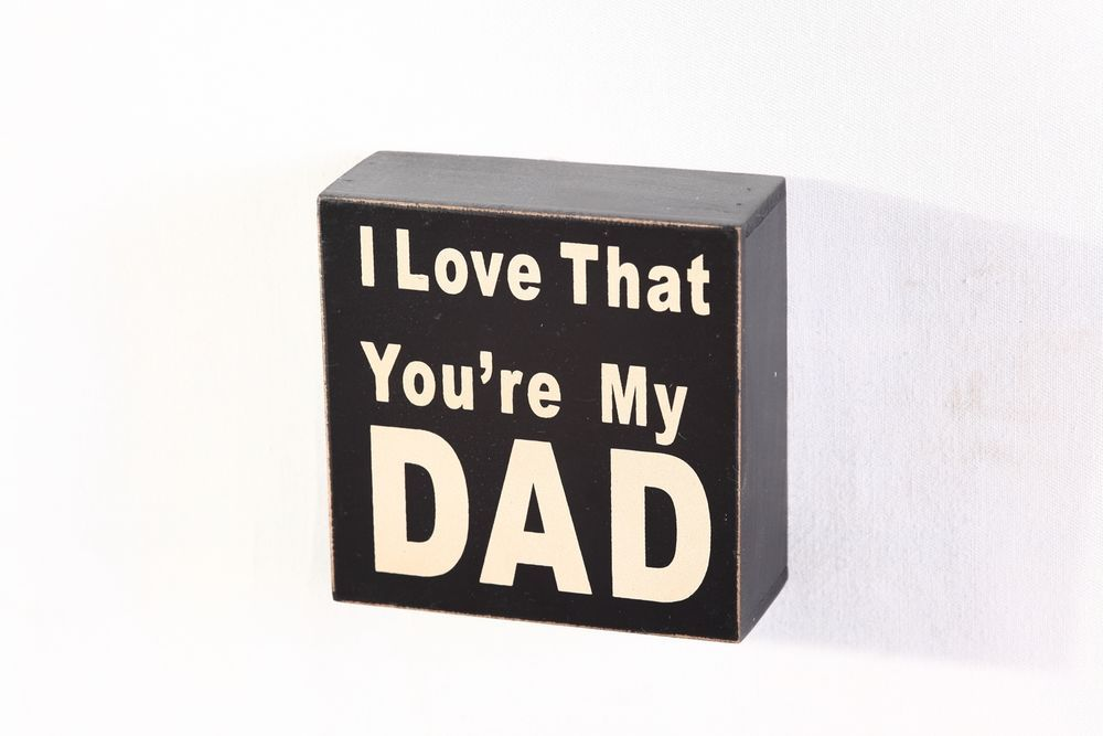 "Yricas Design Wood Box Sign, 4"", I Love My DAD"