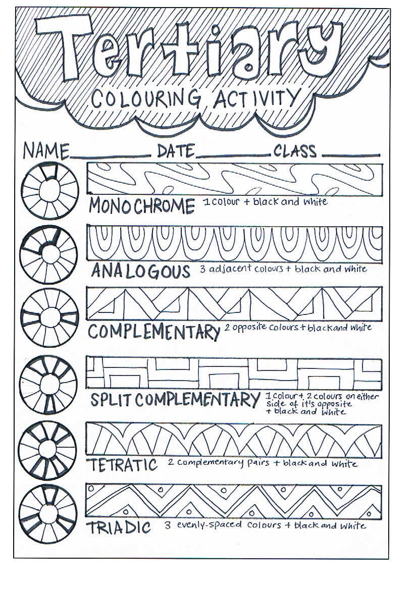 Colour Theory Learning Sheets Bundle   Feedingstickfigures   Art worksheets [ 1169 x 826 Pixel ]