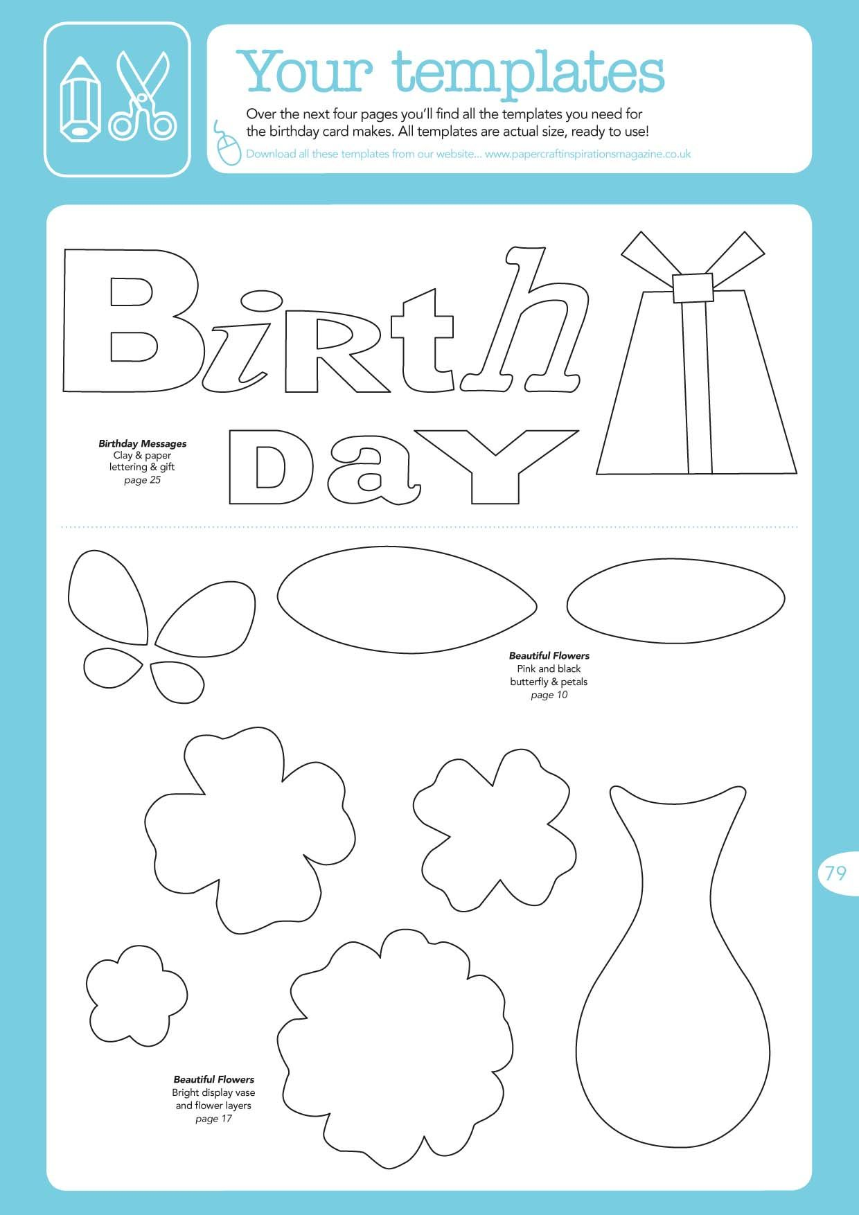 craft templates FREE Birthday Card Ideas templates to