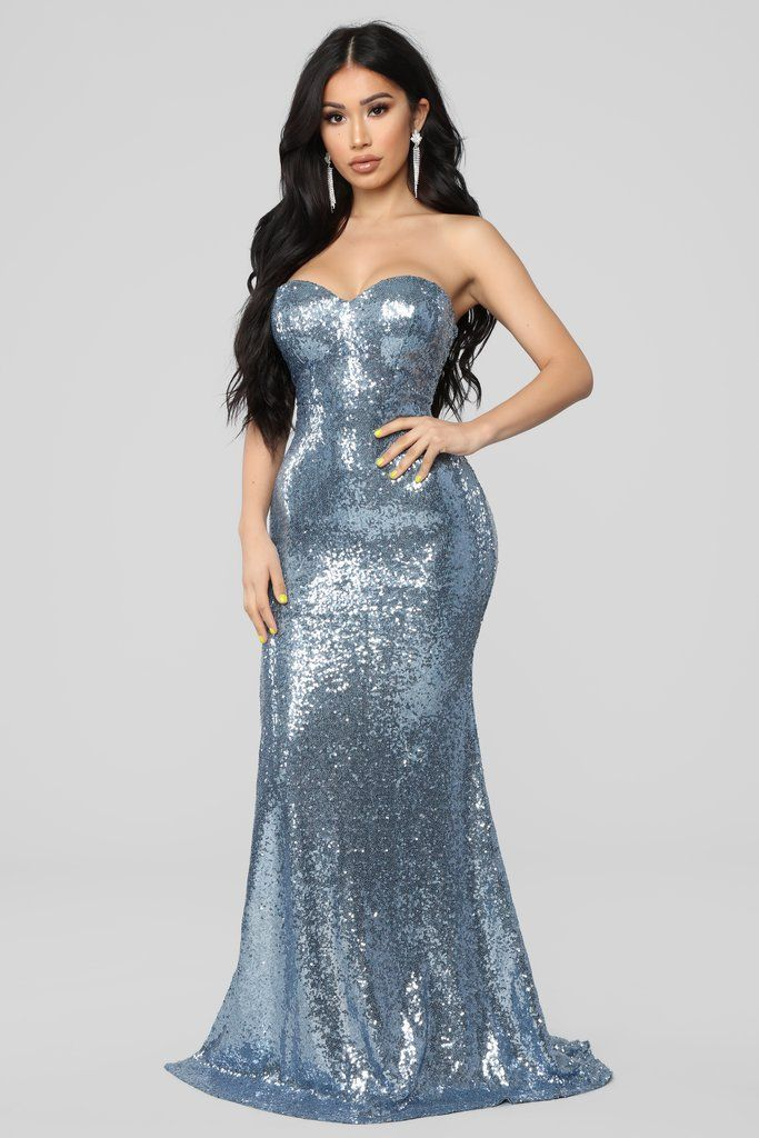 Ice Blue Queen Sequin Dress - Icy Blue | Blue sequin dress