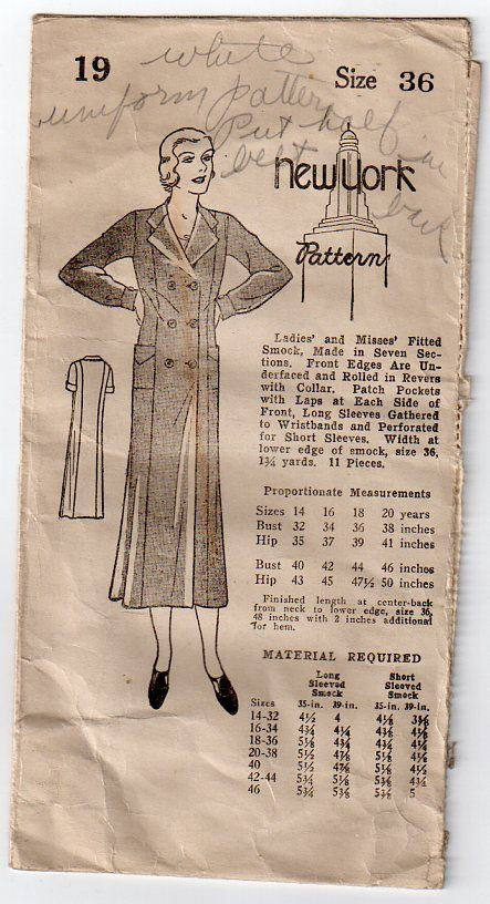 Evocative long smock coat. New York pattern #1153b Excellent used condition and is complete. Bust 36 Hips 39. Sorry this item...