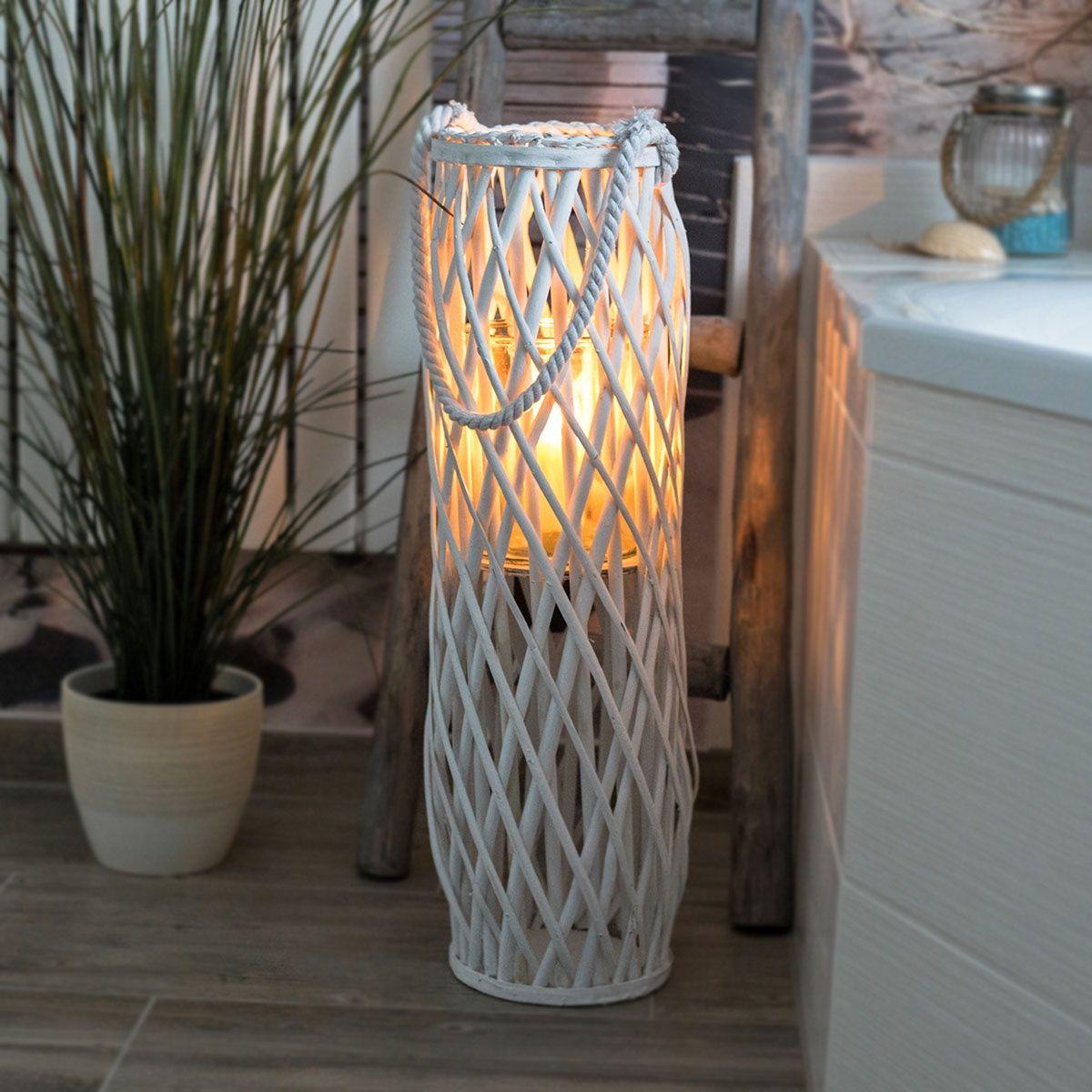 Laterne Rattan Mit Glas Windlicht Weiss Höhe Ca 70cm