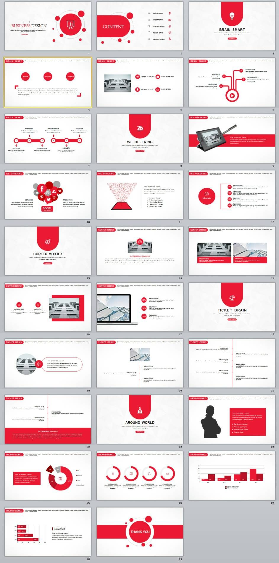 29 red creative business design powerpoint template business